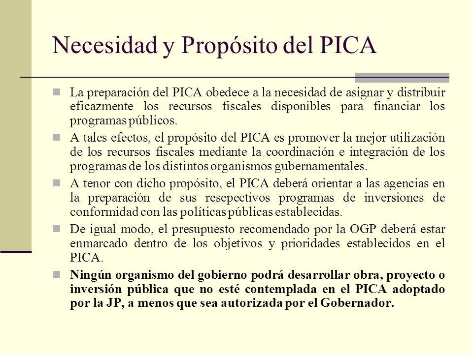 Necesidad y Propósito del PICA La preparación del PICA obedece a la necesidad de asignar y distribuir eficazmente los recursos fiscales disponibles para financiar los programas públicos.