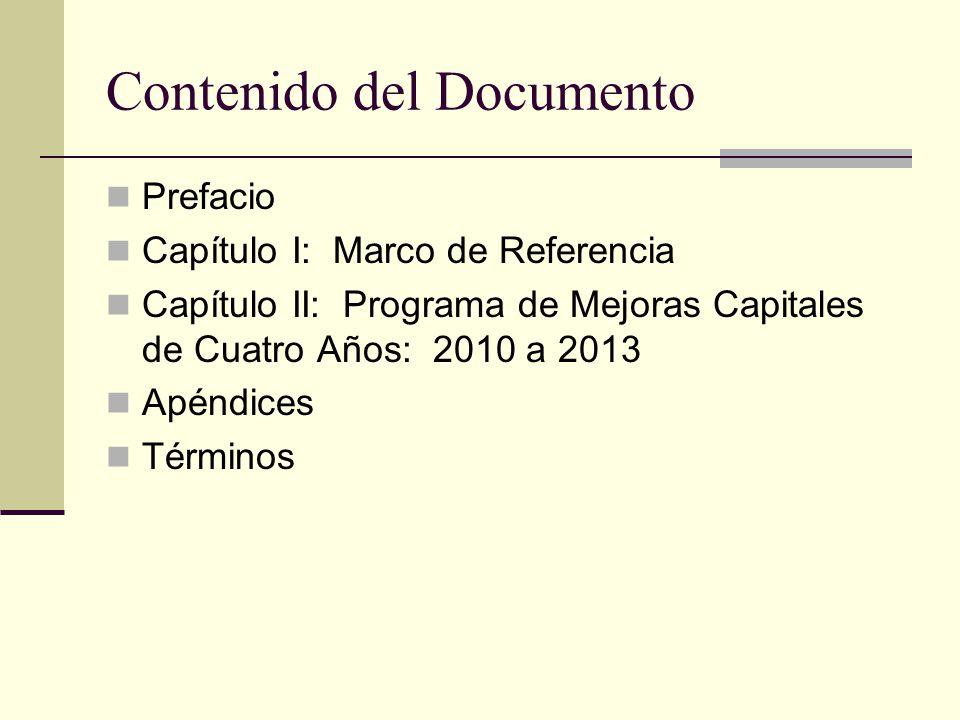 Contenido del Documento Prefacio Capítulo I: Marco de Referencia Capítulo II: Programa de Mejoras Capitales de Cuatro Años: 2010 a 2013 Apéndices Términos