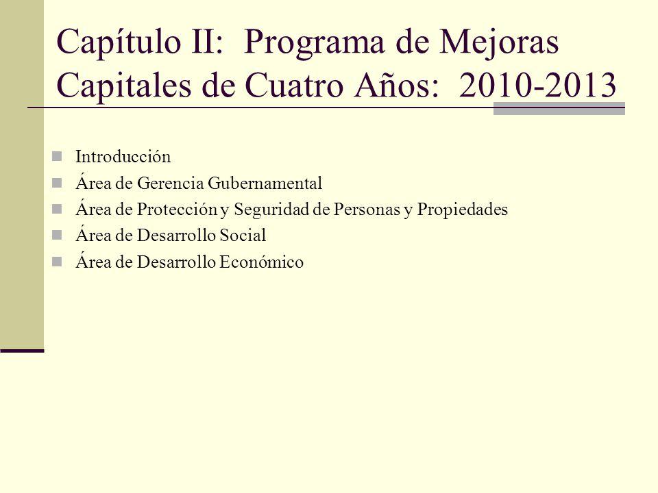 Capítulo II: Programa de Mejoras Capitales de Cuatro Años: 2010-2013 Introducción Área de Gerencia Gubernamental Área de Protección y Seguridad de Personas y Propiedades Área de Desarrollo Social Área de Desarrollo Económico