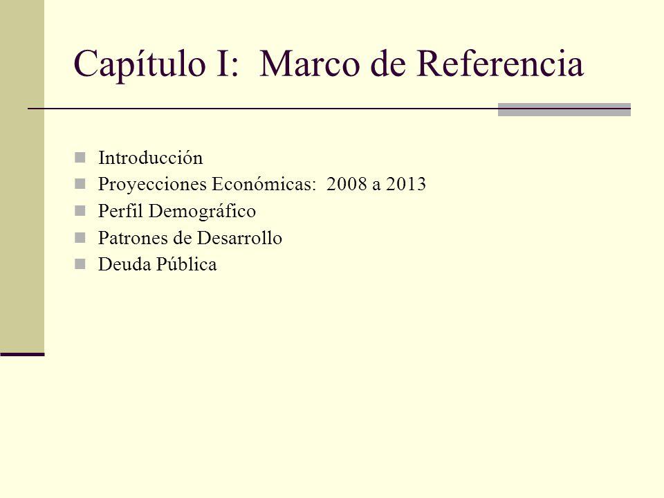Capítulo I: Marco de Referencia Introducción Proyecciones Económicas: 2008 a 2013 Perfil Demográfico Patrones de Desarrollo Deuda Pública