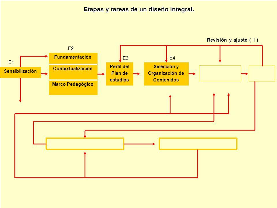 Sensibilización Marco Pedagógico Contextualización Fundamentación Perfil del Plan de estudios Selección y Organización de Contenidos Revisión y ajuste ( 1 ) E1 E3 E4 E2