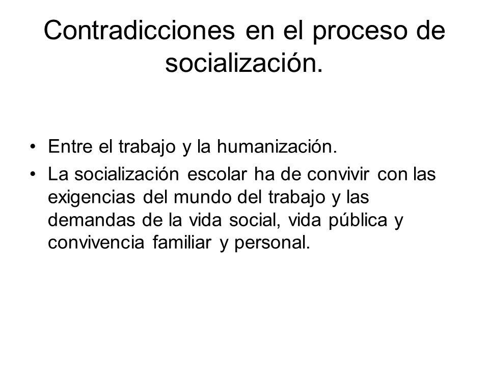Contradicciones en el proceso de socialización. Entre el trabajo y la humanización.