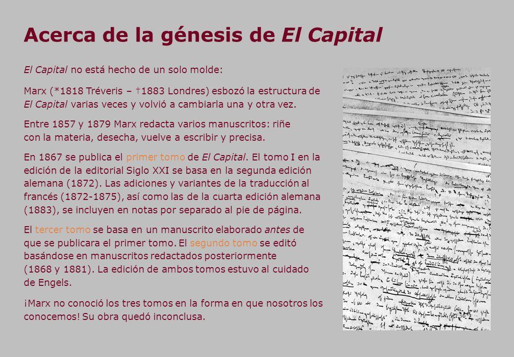 Acerca de la génesis de El Capital ¡Marx no conoció los tres tomos en la forma en que nosotros los conocemos.