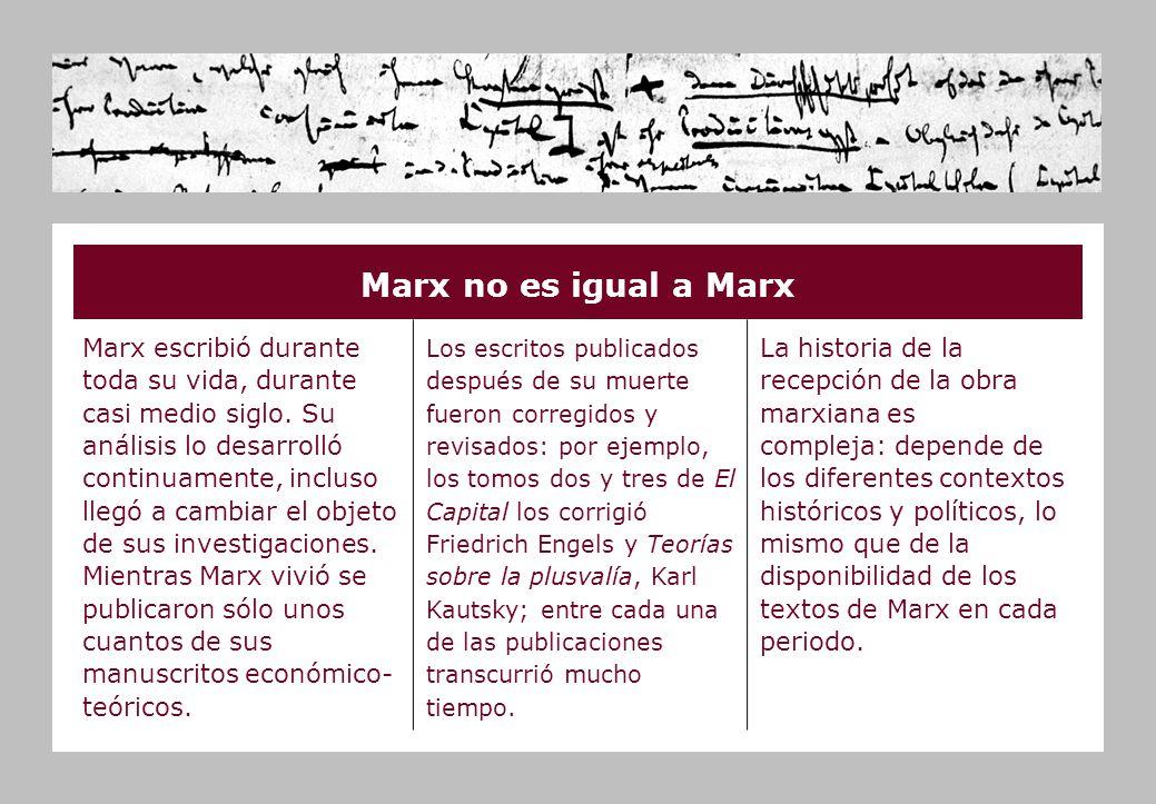 Marx no es igual a Marx Marx escribió durante toda su vida, durante casi medio siglo.