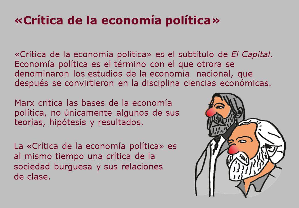 «Crítica de la economía política» «Crítica de la economía política» es el subtítulo de El Capital.