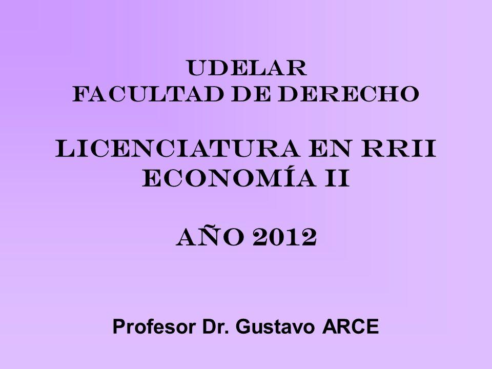UDELAR FACULTAD DE DERECHO Licenciatura en RRII Economía II Año 2012 Profesor Dr. Gustavo ARCE