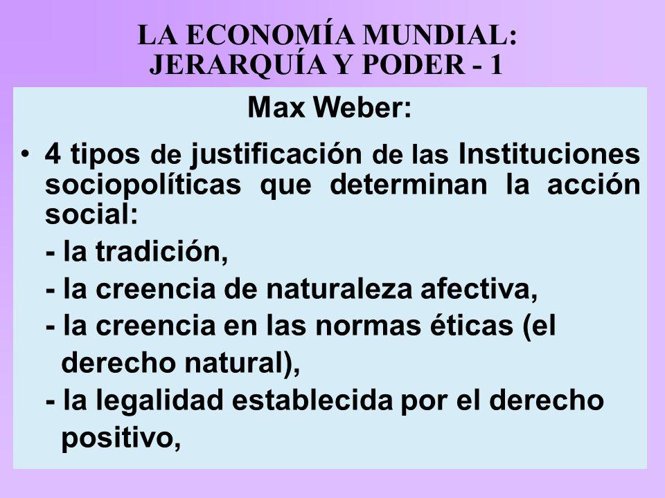 LA ECONOMÍA MUNDIAL: JERARQUÍA Y PODER - 1 Max Weber: 4 tipos de justificación de las Instituciones sociopolíticas que determinan la acción social: - la tradición, - la creencia de naturaleza afectiva, - la creencia en las normas éticas (el derecho natural), - la legalidad establecida por el derecho positivo,