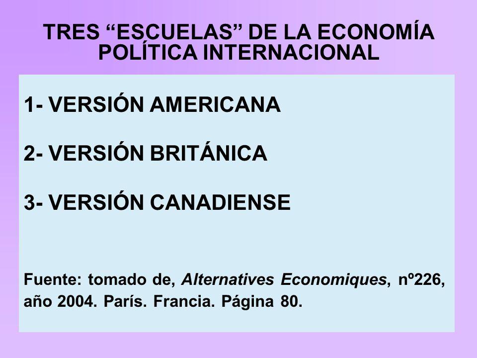 TRES ESCUELAS DE LA ECONOMÍA POLÍTICA INTERNACIONAL 1- VERSIÓN AMERICANA 2- VERSIÓN BRITÁNICA 3- VERSIÓN CANADIENSE Fuente: tomado de, Alternatives Economiques, nº226, año 2004.