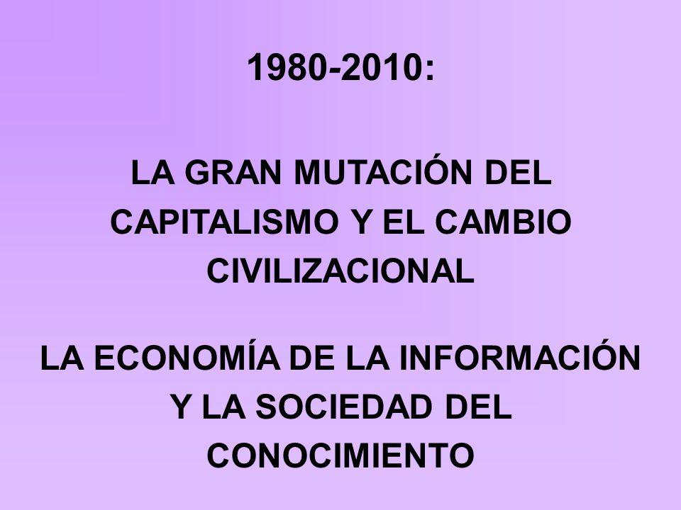 1980-2010: LA GRAN MUTACIÓN DEL CAPITALISMO Y EL CAMBIO CIVILIZACIONAL LA ECONOMÍA DE LA INFORMACIÓN Y LA SOCIEDAD DEL CONOCIMIENTO
