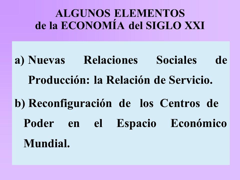ALGUNOS ELEMENTOS de la ECONOMÍA del SIGLO XXI a)Nuevas Relaciones Sociales de Producción: la Relación de Servicio.