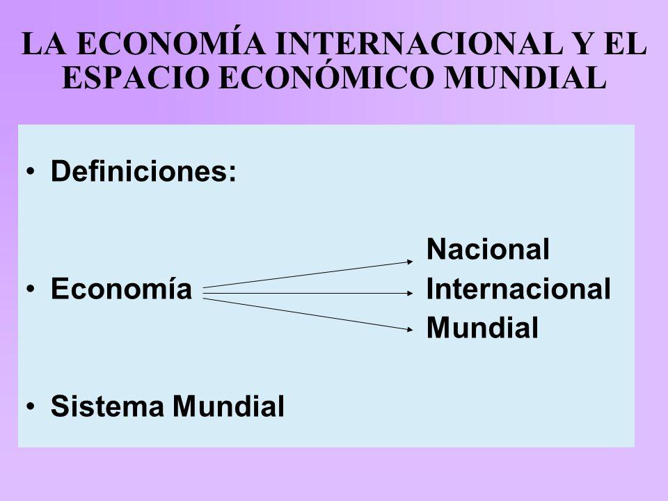 LA ECONOMÍA INTERNACIONAL Y EL ESPACIO ECONÓMICO MUNDIAL Definiciones: Nacional Economía Internacional Mundial Sistema Mundial