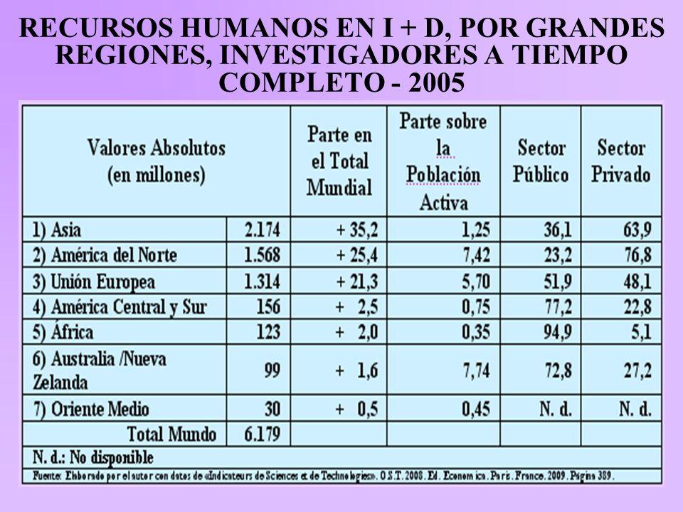 RECURSOS HUMANOS EN I + D, POR GRANDES REGIONES, INVESTIGADORES A TIEMPO COMPLETO - 2005