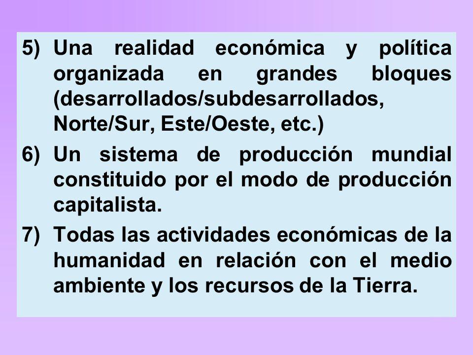 5)Una realidad económica y política organizada en grandes bloques (desarrollados/subdesarrollados, Norte/Sur, Este/Oeste, etc.) 6)Un sistema de producción mundial constituido por el modo de producción capitalista.