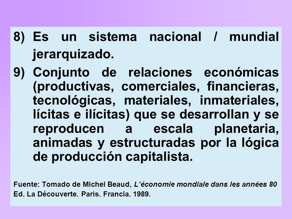8)Es un sistema nacional / mundial jerarquizado.