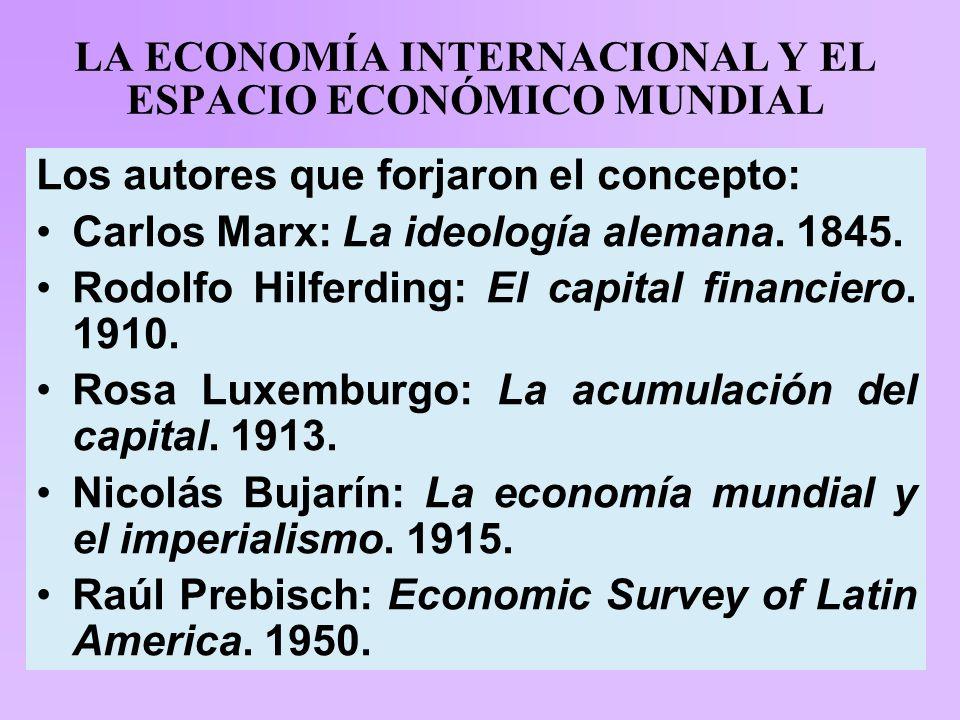 LA ECONOMÍA INTERNACIONAL Y EL ESPACIO ECONÓMICO MUNDIAL Los autores que forjaron el concepto: Carlos Marx: La ideología alemana.