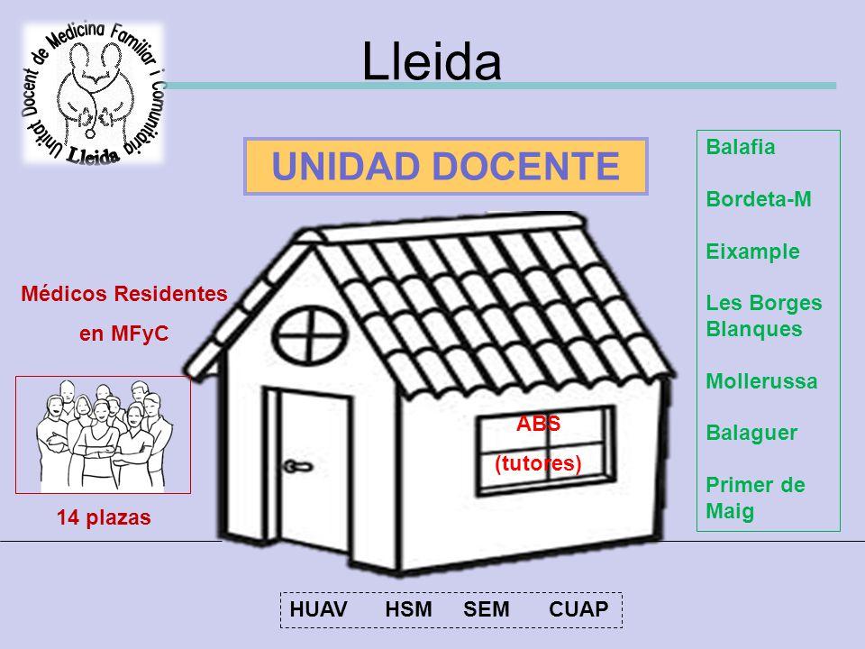 Lleida ABS (tutores) UNIDAD DOCENTE Médicos Residentes en MFyC 14 plazas Balafia Bordeta-M Eixample Les Borges Blanques Mollerussa Balaguer Primer de Maig HUAV HSM SEMCUAP