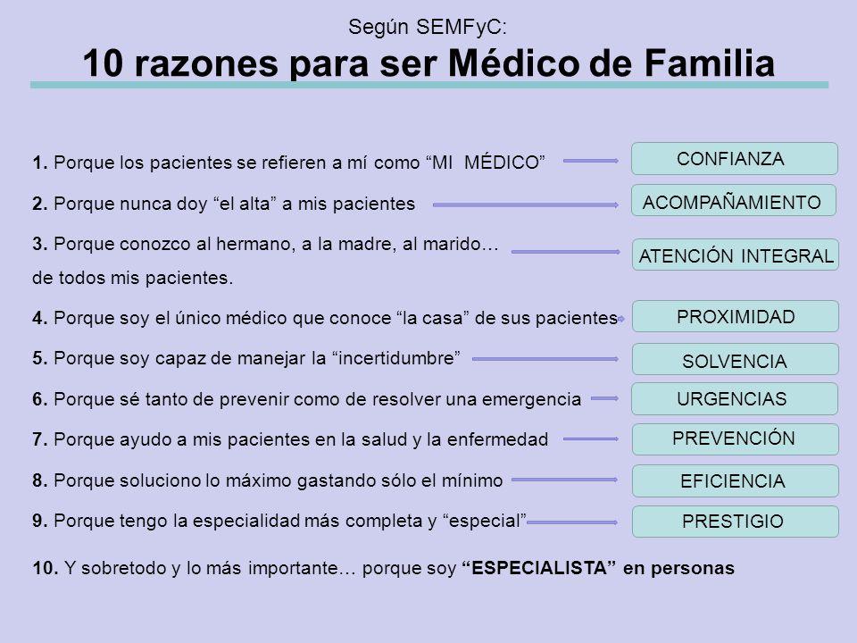 Según SEMFyC: 10 razones para ser Médico de Familia 1.
