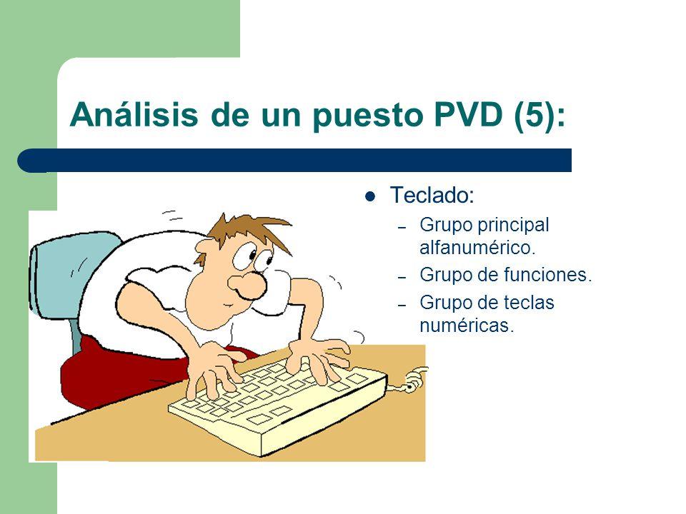 Análisis de un puesto PVD (5): Teclado: – Grupo principal alfanumérico.