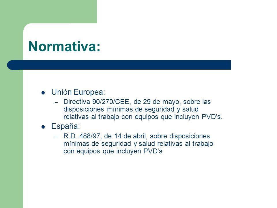 Normativa: Unión Europea: – Directiva 90/270/CEE, de 29 de mayo, sobre las disposiciones mínimas de seguridad y salud relativas al trabajo con equipos que incluyen PVD's.