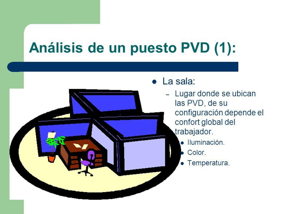 Análisis de un puesto PVD (1): La sala: – Lugar donde se ubican las PVD, de su configuración depende el confort global del trabajador.