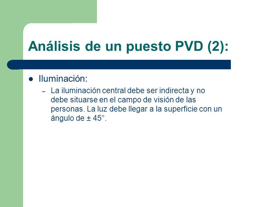 Análisis de un puesto PVD (2): Iluminación: – La iluminación central debe ser indirecta y no debe situarse en el campo de visión de las personas.