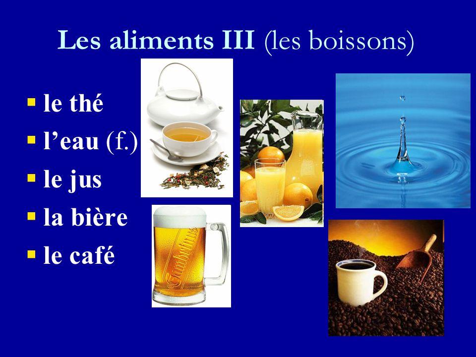 Les aliments III (la viande) ll e poulet ll e porc ll 'agneau (m.) ll e bœuf ll e canard