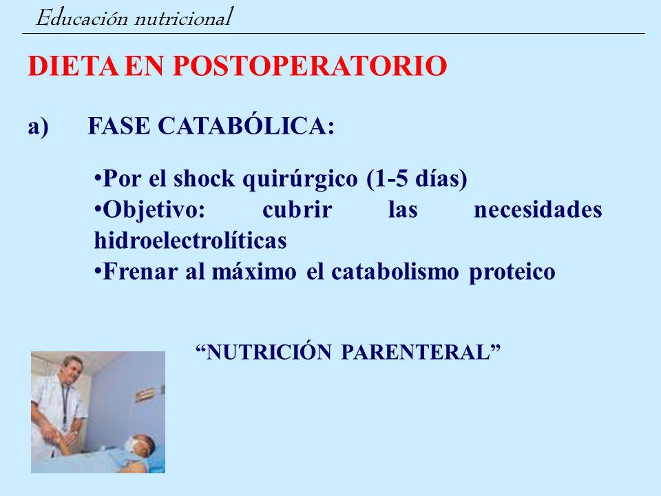 Educación nutricional DIETA EN POSTOPERATORIO a) FASE CATABÓLICA: Por el shock quirúrgico (1-5 días) Objetivo: cubrir las necesidades hidroelectrolíti