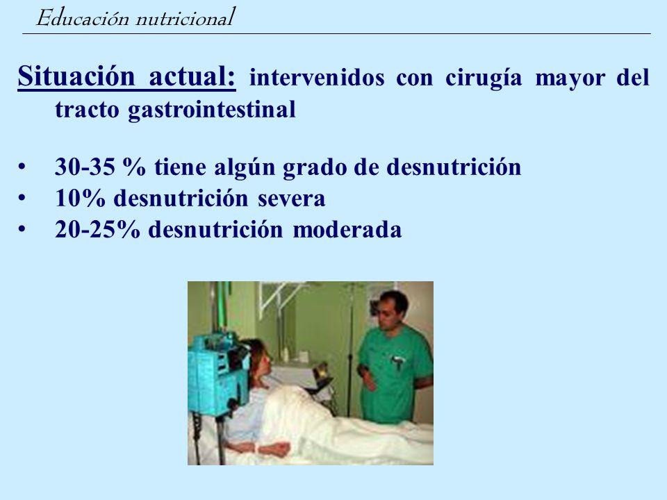 Educación nutricional Situación actual: intervenidos con cirugía mayor del tracto gastrointestinal 30-35 % tiene algún grado de desnutrición 10% desnu