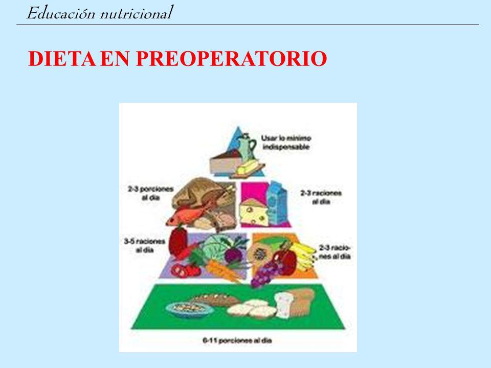 Educación nutricional 3.- CIRUGÍA INTESTINO: Restricciones dietéticas por escrito Evitar estreñimiento Dietista si procede 4.- CIRUGÍA HERNIA: Dieta blanda - Normal Evitar estreñimiento 5.- CIRUGÍA BILIAR: Dieta sin grasas (1º mes); incorporando los alimentos según tolerancia hasta los 3 meses 6.- CIRUGÍA HEPÁTICA: Dieta especial sin grasas Aumento distensión abdominal