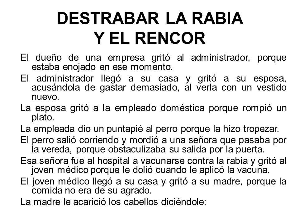 DESTRABAR LA RABIA Y EL RENCOR El dueño de una empresa gritó al administrador, porque estaba enojado en ese momento.