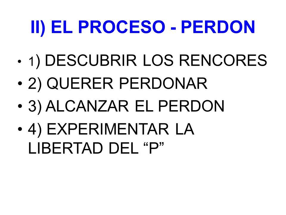 II) EL PROCESO - PERDON 1 ) DESCUBRIR LOS RENCORES 2) QUERER PERDONAR 3) ALCANZAR EL PERDON 4) EXPERIMENTAR LA LIBERTAD DEL P