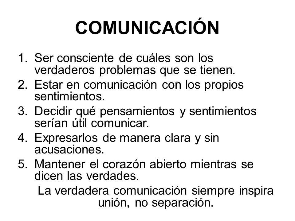 COMUNICACIÓN 1.Ser consciente de cuáles son los verdaderos problemas que se tienen.
