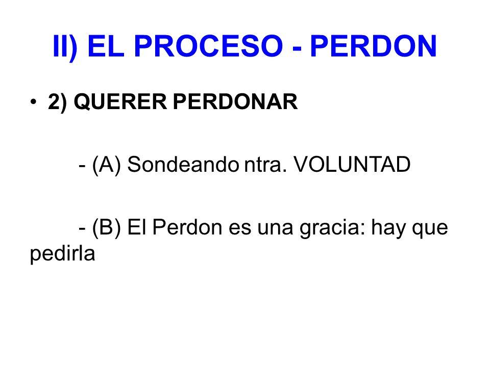 II) EL PROCESO - PERDON 2) QUERER PERDONAR - (A) Sondeando ntra.