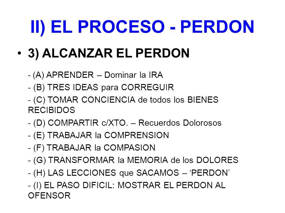 II) EL PROCESO - PERDON 3) ALCANZAR EL PERDON - (A) APRENDER – Dominar la IRA - (B) TRES IDEAS para CORREGUIR - (C) TOMAR CONCIENCIA de todos los BIENES RECIBIDOS - (D) COMPARTIR c/XTO.