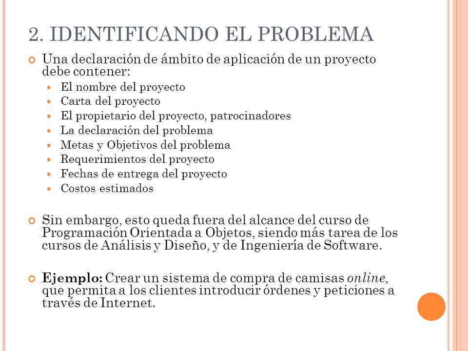2. IDENTIFICANDO EL PROBLEMA Una declaración de ámbito de aplicación de un proyecto debe contener: El nombre del proyecto Carta del proyecto El propie