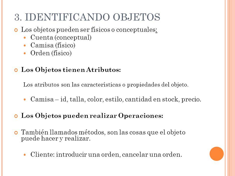 3. IDENTIFICANDO OBJETOS Los objetos pueden ser físicos o conceptuales: Cuenta (conceptual)  Camisa (físico)  Orden (físico)  Los Objetos tienen At