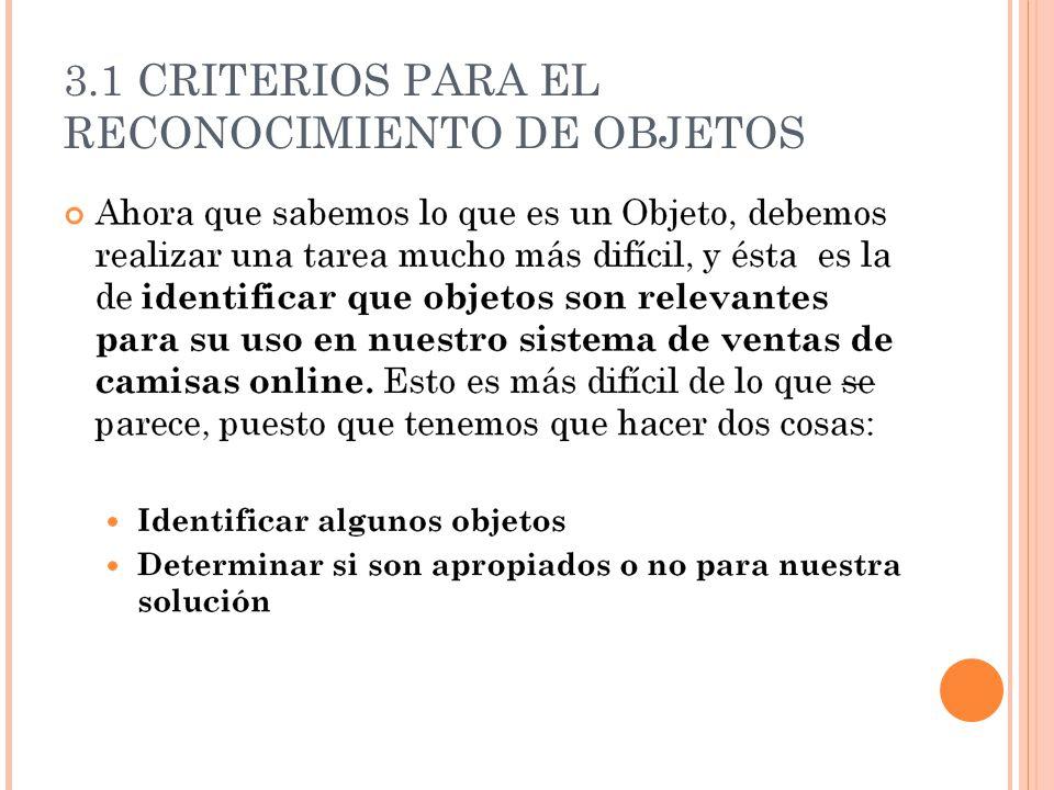 3.1 CRITERIOS PARA EL RECONOCIMIENTO DE OBJETOS