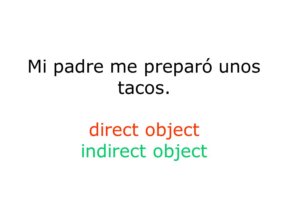 Mi padre me preparó unos tacos. direct object indirect object