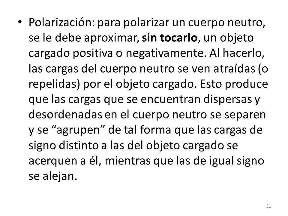 Polarización: para polarizar un cuerpo neutro, se le debe aproximar, sin tocarlo, un objeto cargado positiva o negativamente. Al hacerlo, las cargas d