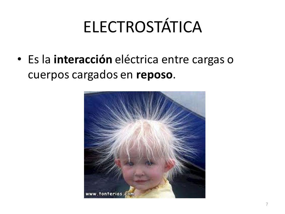 ELECTROSTÁTICA Es la interacción eléctrica entre cargas o cuerpos cargados en reposo. 7