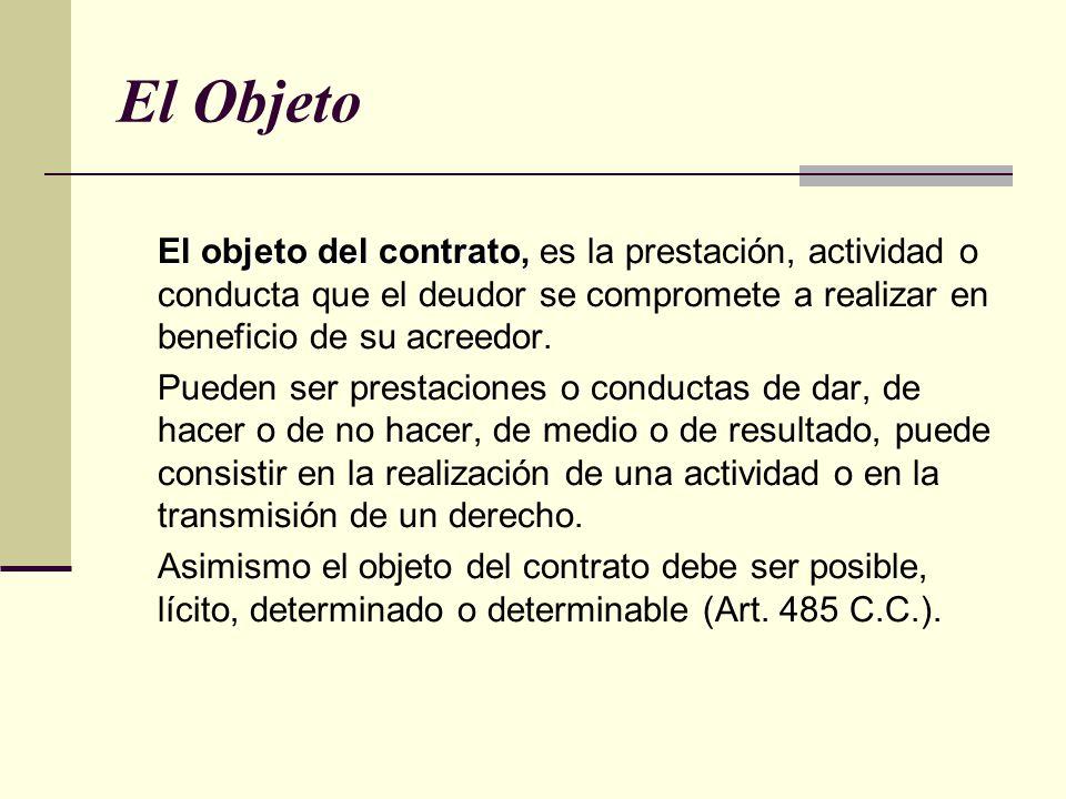 El Objeto El objeto del contrato, El objeto del contrato, es la prestación, actividad o conducta que el deudor se compromete a realizar en beneficio de su acreedor.