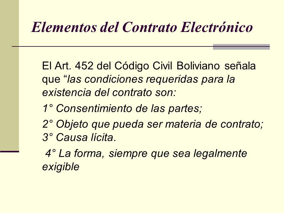 Elementos del Contrato Electrónico El Art.
