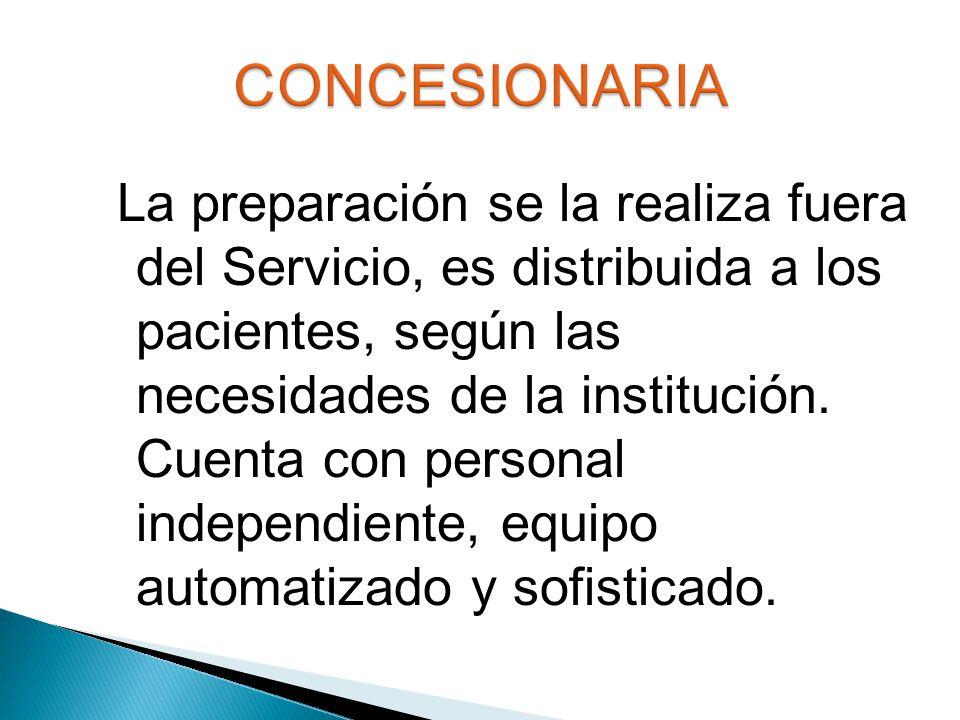 La preparación se la realiza fuera del Servicio, es distribuida a los pacientes, según las necesidades de la institución.