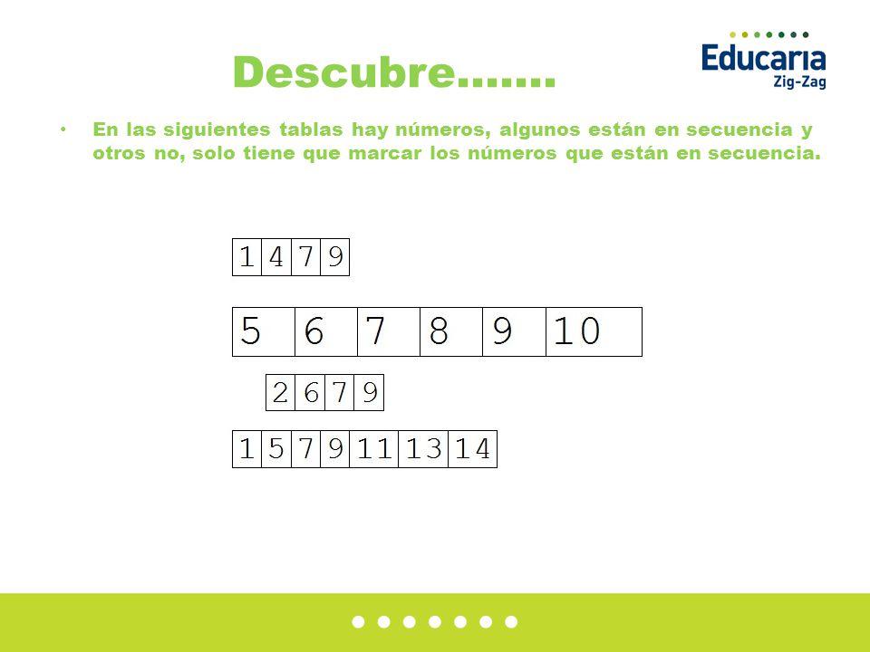 Descubre……. En las siguientes tablas hay números, algunos están en secuencia y otros no, solo tiene que marcar los números que están en secuencia.