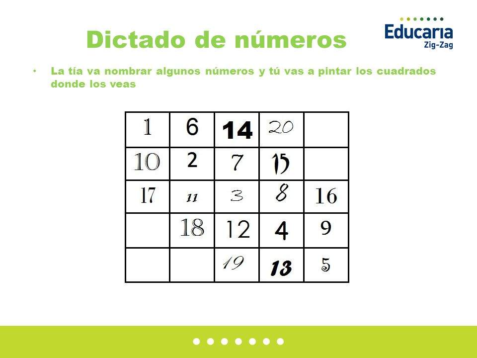 Dictado de números La tía va nombrar algunos números y tú vas a pintar los cuadrados donde los veas