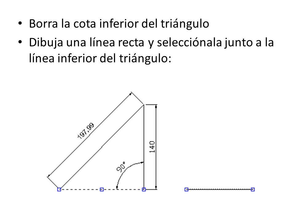Borra la cota inferior del triángulo Dibuja una línea recta y selecciónala junto a la línea inferior del triángulo: