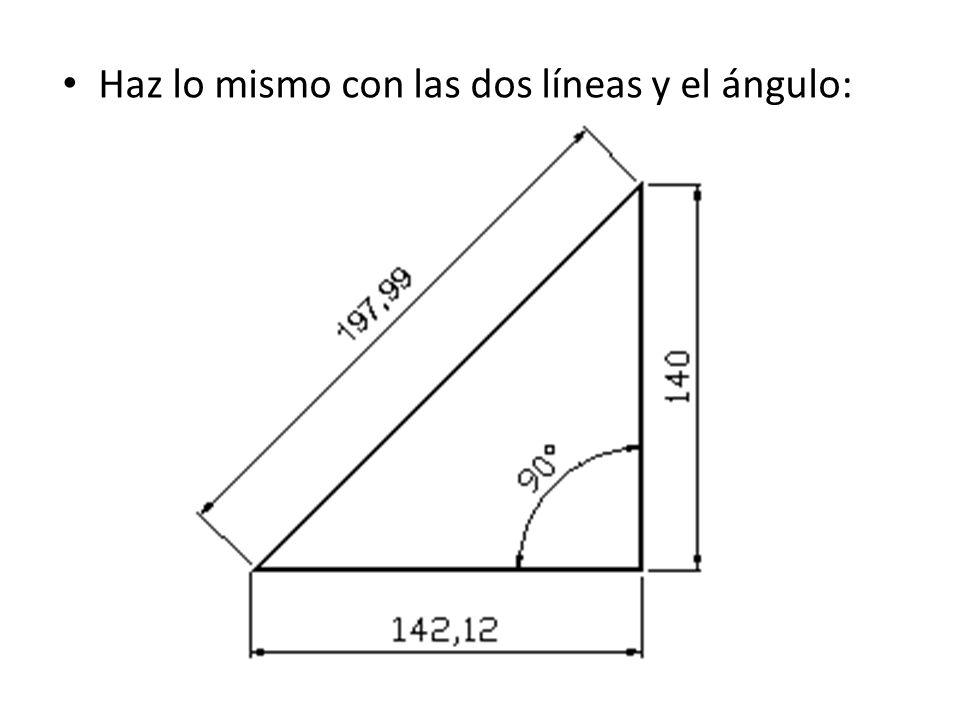 Haz lo mismo con las dos líneas y el ángulo: