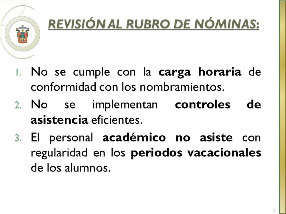 REVISIÓN AL RUBRO DE NÓMINAS: REVISIÓN AL RUBRO DE NÓMINAS: 1. No se cumple con la carga horaria de conformidad con los nombramientos. 2. No se implem
