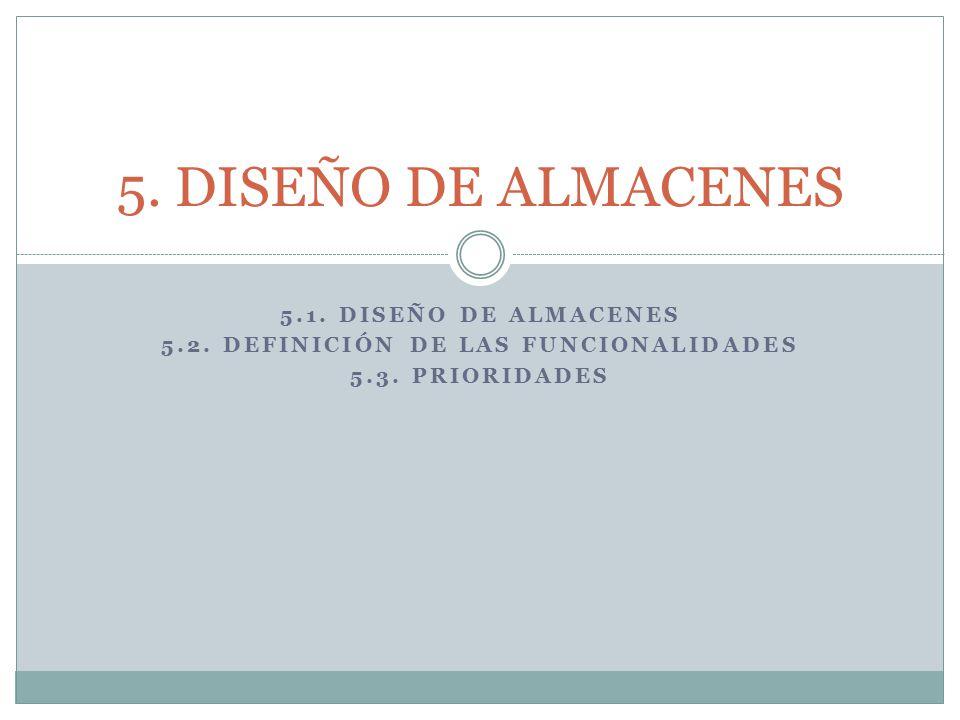 5.1.DISEÑO DE ALMACENES 5.2. DEFINICIÓN DE LAS FUNCIONALIDADES 5.3.