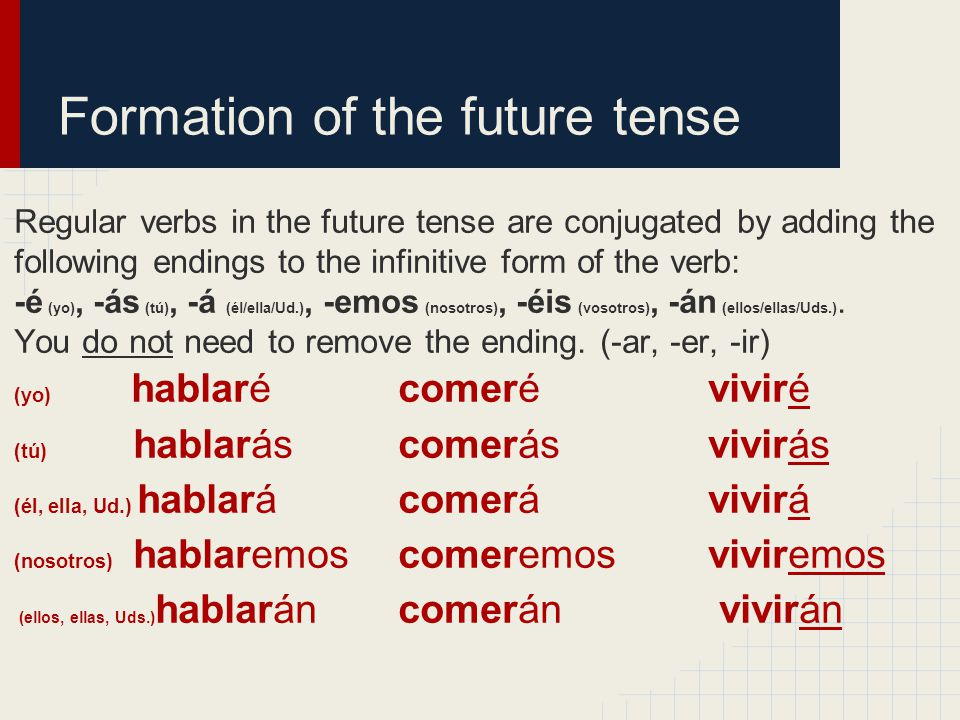 Formation of the future tense Regular verbs in the future tense are conjugated by adding the following endings to the infinitive form of the verb: -é (yo), -ás (tú), -á (él/ella/Ud.), -emos (nosotros), -éis (vosotros), -án (ellos/ellas/Uds.).